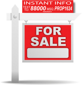 Real Estate For Sale Sign with Text Message Code Rider