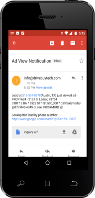 Receive Lead Notification E-mail from Text Message Sign